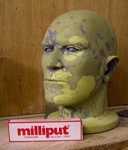 milliput life size head sculpture