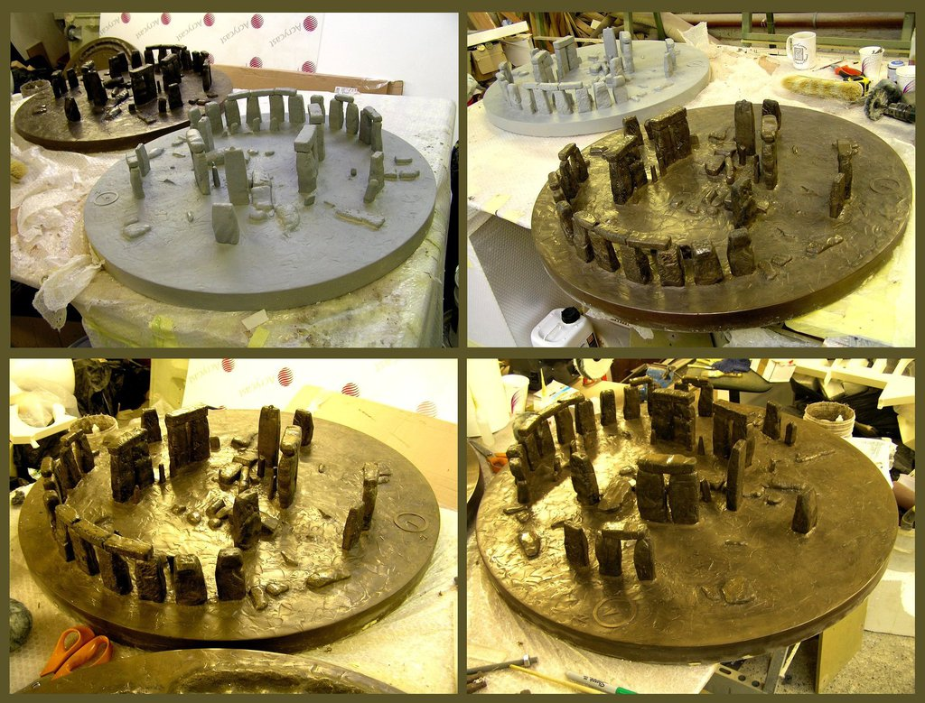 bronze-effect Stonehenge models
