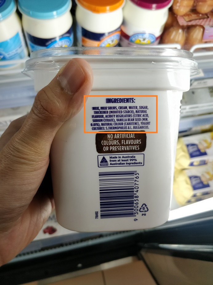Another popular brand of flavoured greek yoghurt. No artificial colours, flavours or preservatives, but look at that ingredient list!