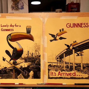 Retro Guinness Toucans with Swansea Flyover and Port Talbot Skyline