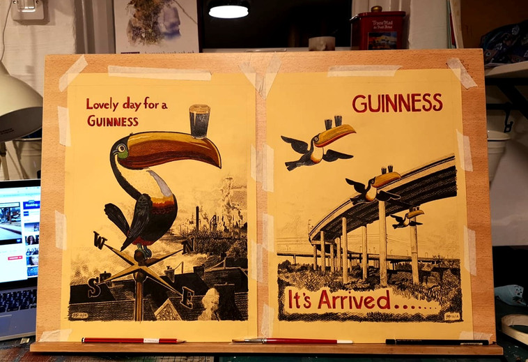 Private Commission - Retro Guinness Toucans with Swansea Flyover and Port Talbot Skyline