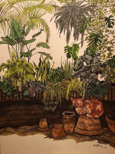 Private Commission - Indoor Plant Jungle and Kyuss the Cat.jpg