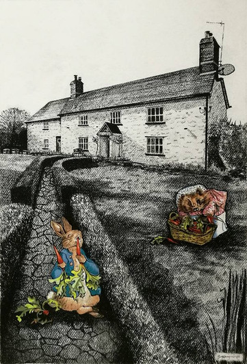 Private Commission - Country Home with Beatrix Potter Characters