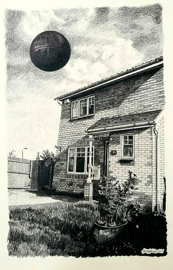 Private Commission - Home on an Estate with the Death Star
