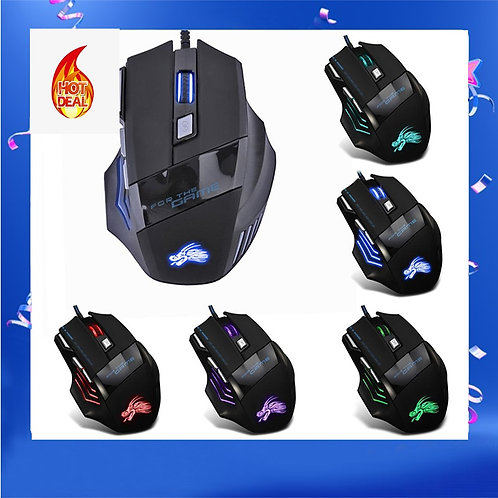 Dropship 5500DPI LED Optical USB Wired Gaming Mouse 7 Buttons Gaming