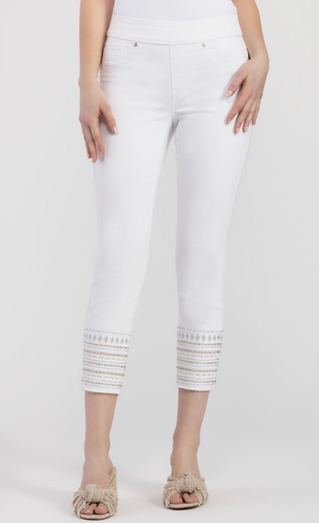 White Pull On Pants with Embellished Hem