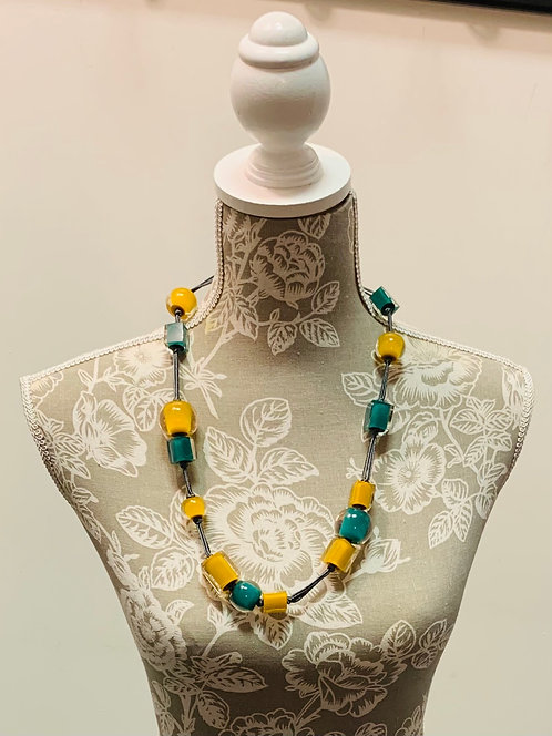 Teal and Yellow Bead Necklace