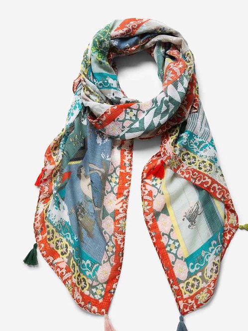 Patchwork Scarf with Tassels
