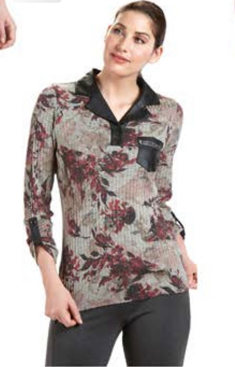 Floral Print with Black Collar and Pocket