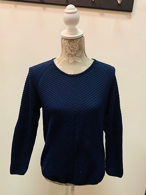 Navy Ribbed Cotton Knit Sweater