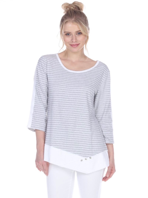 Grey Striped Cotton Top