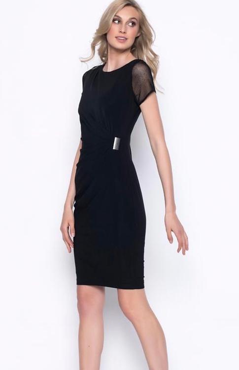 Short Sleeved DrapedDress in Black
