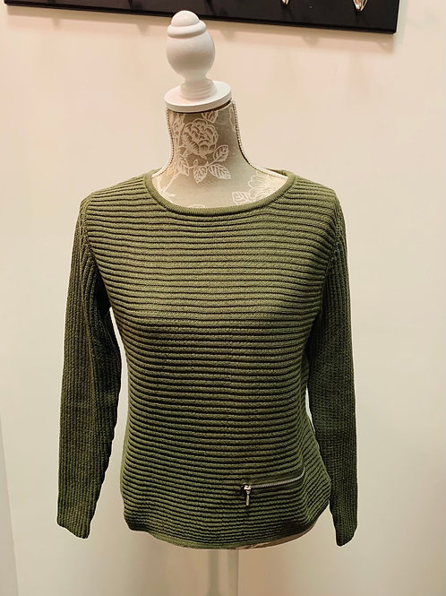Green Ribbed Knit Sweater with Pocket
