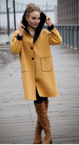 Yellow Coat with Black Details