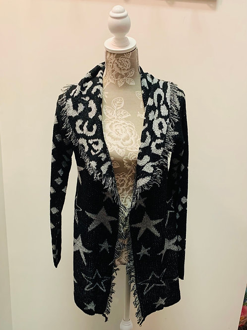 Star Patterned Cardigan Sweater with Fringe