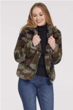 Camo Sherpa Jacket Sweater