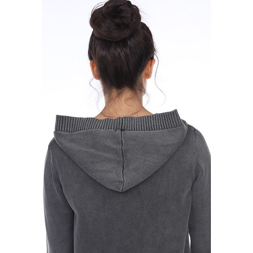 Grey Get Grounded Cardigan with Hood