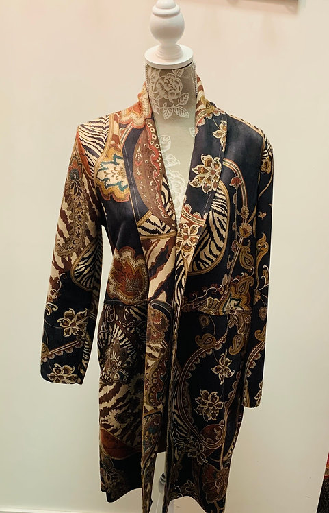 Ultra suede paisley long coat