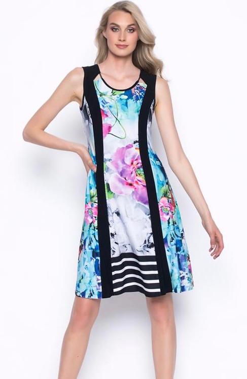 Sleeveless Panelled Dress with Cutout Neckline