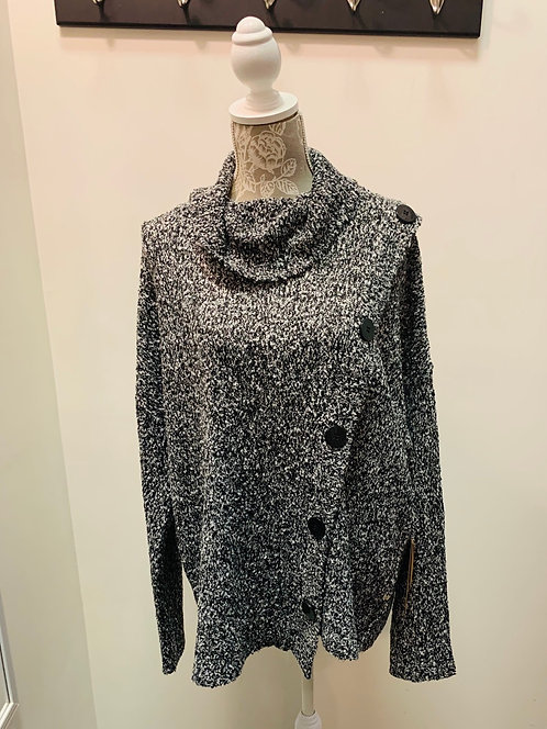 Grey Mix Turtle Neck with Button Detail