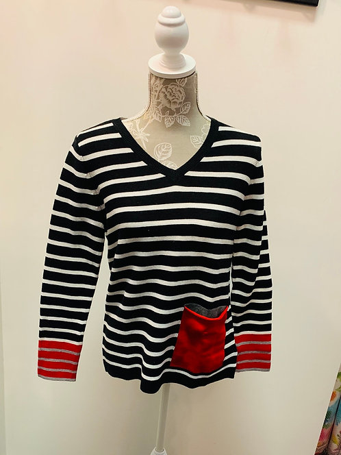 Striped Sweater with Red Pocket