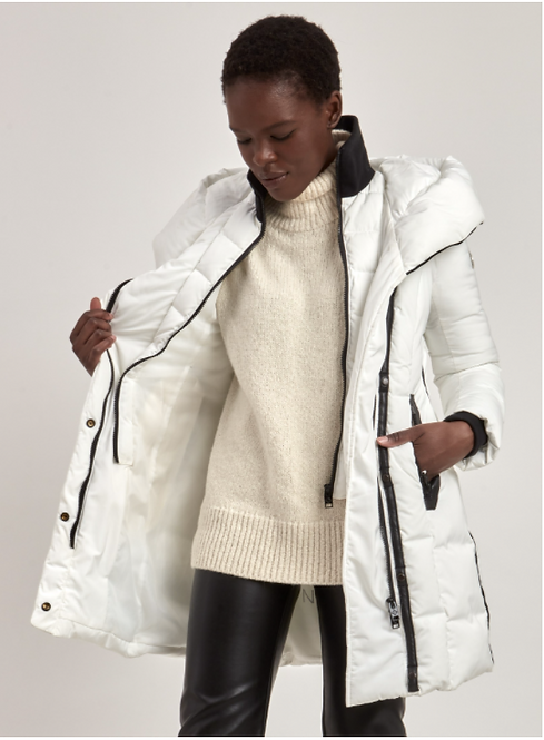 Hooded Puffer Jacket with Inset Collar