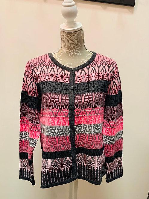 Pink Striped Pattern Cardigan
