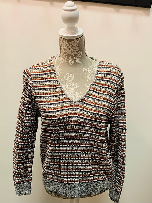 Grey, Navy and Brown Striped Knit Sweater