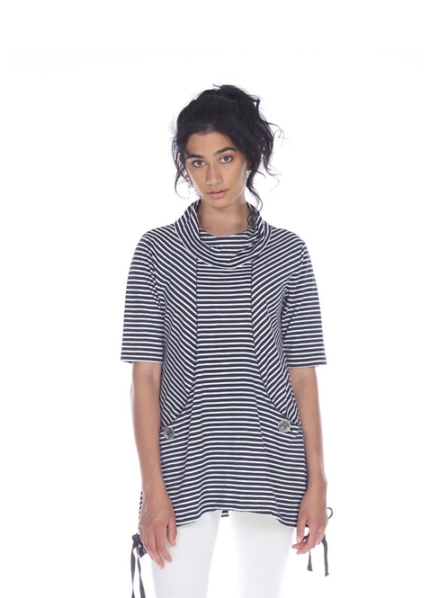 Cotton Striped Tunic with Cowl Neck