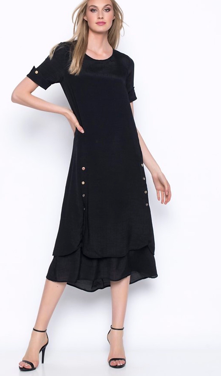 Short Sleeved Layered Long Dress with Button Trim in Black