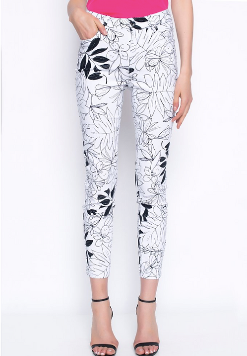 Black and White Printed Ankle Pant