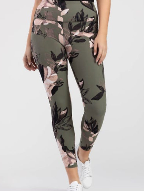 Khaki Green & Pale Pink Floral Leggings