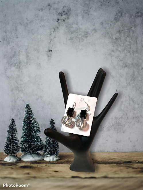 Black and Tranluscent Earrings
