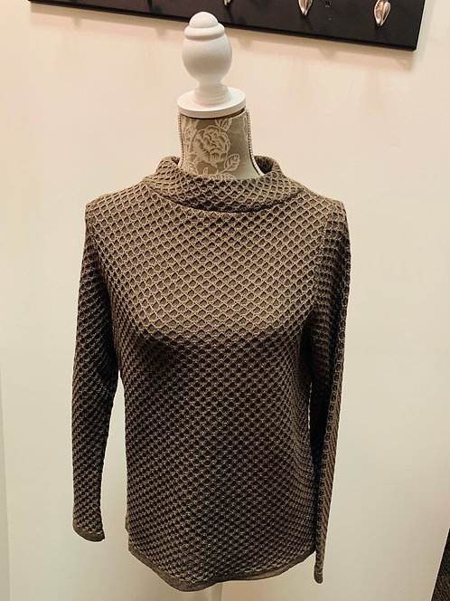 Embossed Print Mock Neck Sweater
