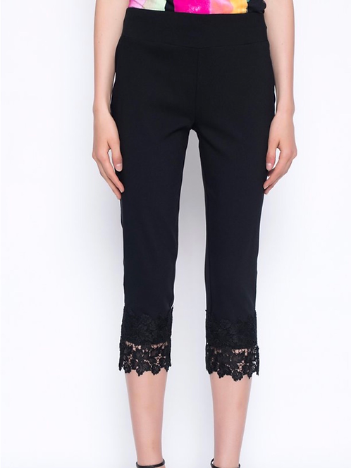 Black Lace Trimmed Pull On Pants