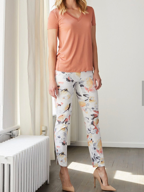 Floral Printed Pull on Pants with Tummy Control