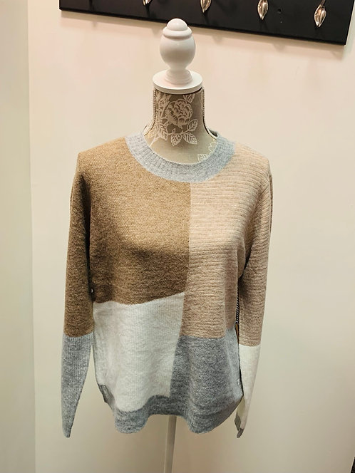 Brown, Beige and Grey Colour Blocked Sweater