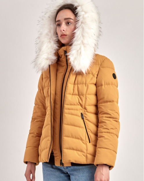 Fur Hooded Puffer Jacket with Inset Collar