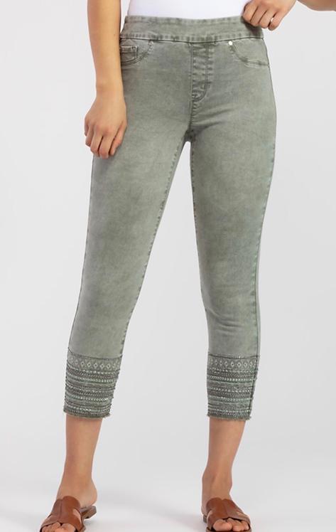 Vintage Look Green Pull On Pants with Detail Hem
