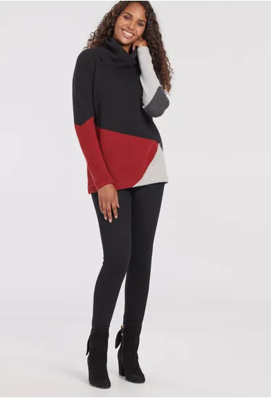 Colour Blocked Red, Grey and Black Sweater