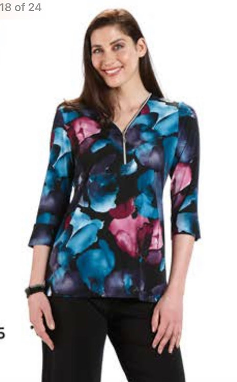 Black, Teal and Pink Top with Zipper Neck
