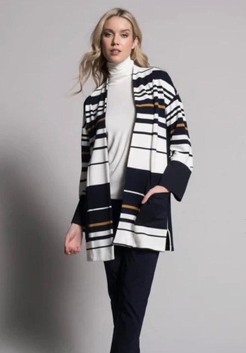 Striped White, Black and Mustard Cardigan