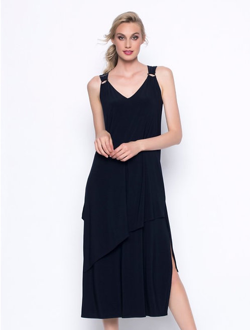 Sleeveless Layered Long Dress in Deep Navy with Buckle Detail