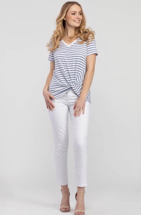 Knot Front Modal Striped Tee in Lavender