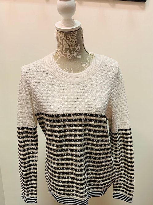 White Black Striped Sweater