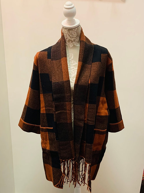 Rust Plaid Cardigan with attached Scarf