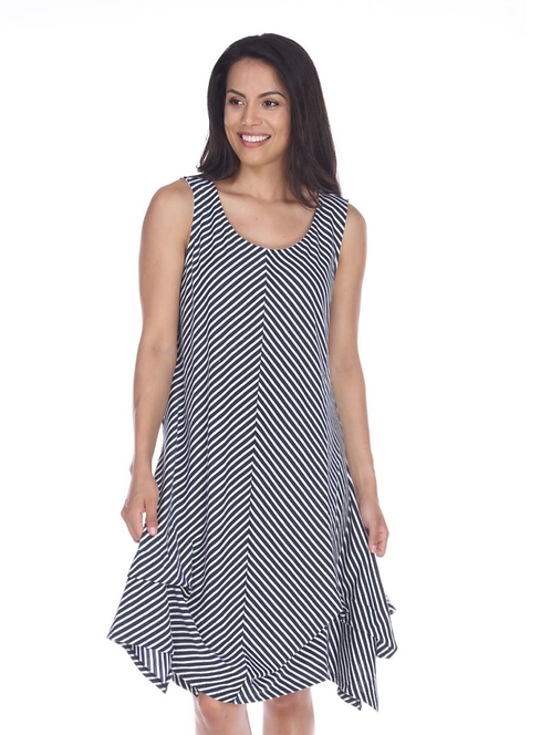 Striped Cotton Draped Dress