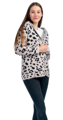 Fuzzy Pink Animal Print Cardigan