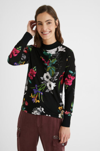 Black Unique Floral Printed Top