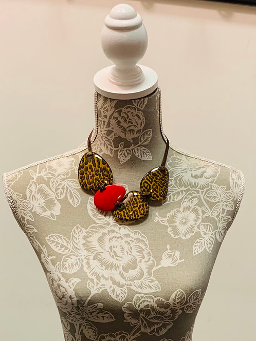 Red and Multi Print Necklace